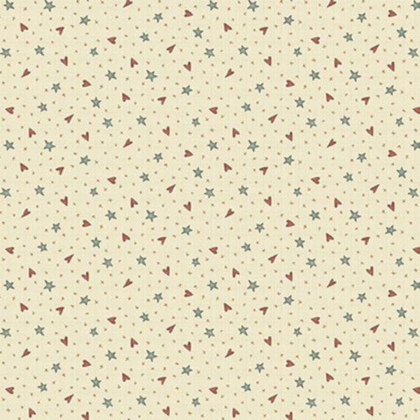 Tessuto in cotone americano - fantasia - stelle - cuori - beige - Anni - Downs Filomania