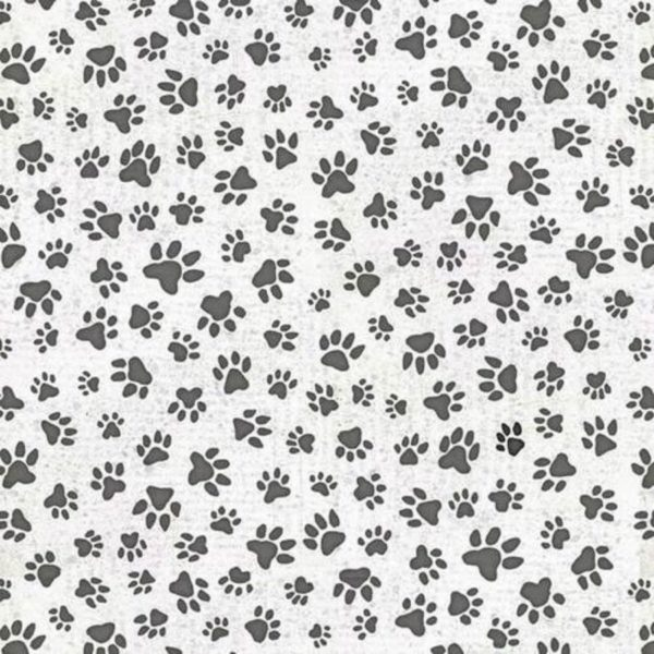 Tessuto in cotone americano - fantasia - zampe - cane - animali - Filomania