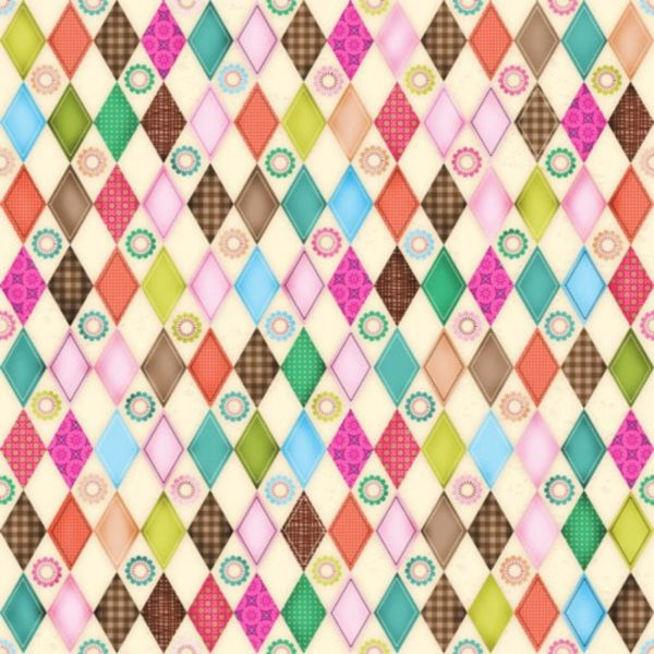 Tessuto in cotone americano - geometrico - rombi - colorato - Filomania
