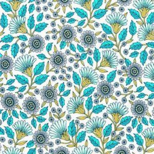 Tessuto in cotone americano - laminato - fantasia - fiori - turchese - Filomania