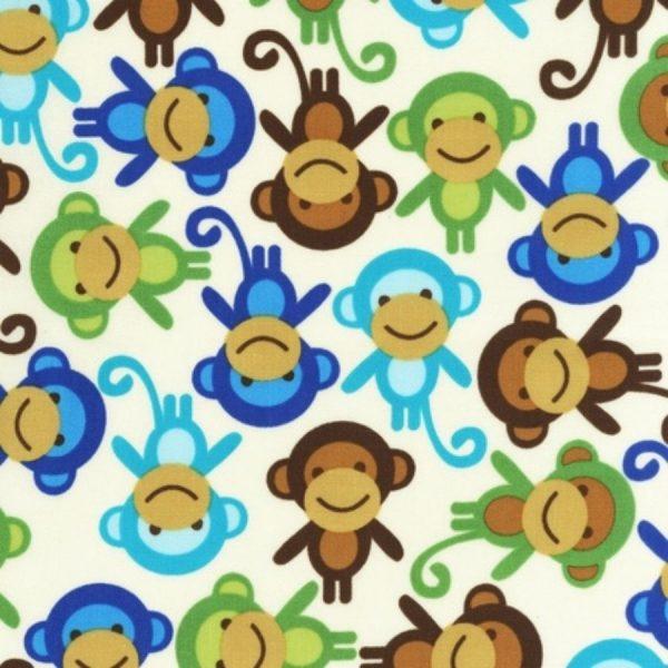 Tessuto in cotone americano - laminato - fantasia - scimmie - Filomania