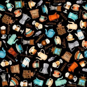 Tessuto in cotone americano - accessori - caffè - Filomania