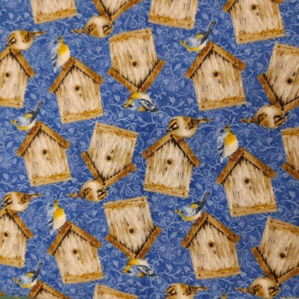 Tessuto in cotone americano - casette per uccellini - Filomania