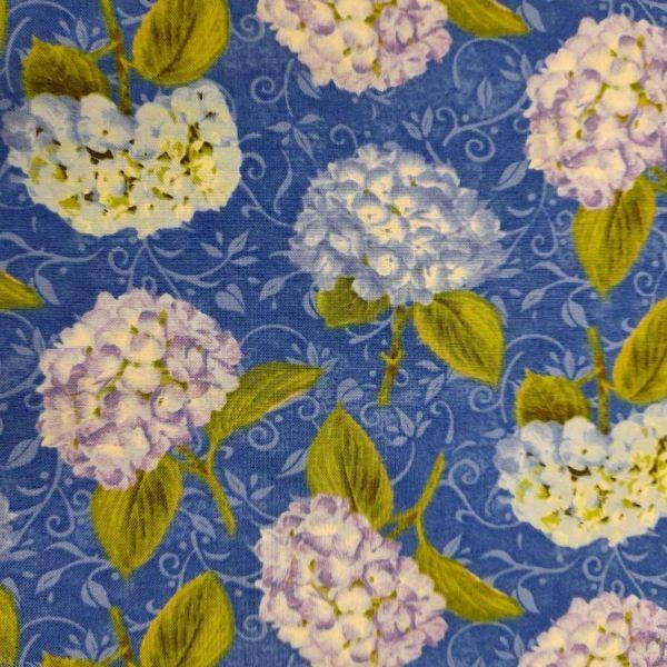 Tessuto in cotone americano - fiori - ortensie con foglie - Filomania