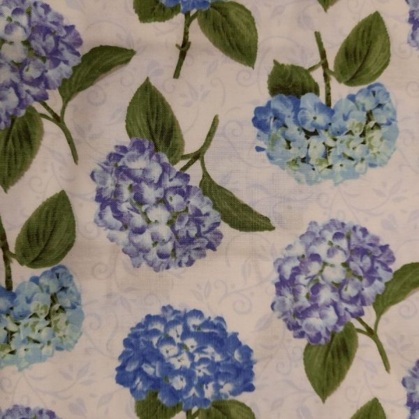Tessuto in cotone americano - fiori - ortensie con foglie - beige - Filomania