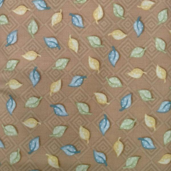 Tessuto in cotone americano - foglie autunnali - azzurro - Filomania