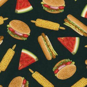 Tessuto in cotone americano - hamburger - mais - Filomania