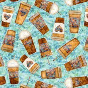 Tessuto in cotone americano - mug - tazza - azzurro - Filomania