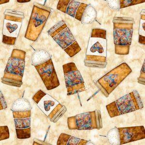Tessuto in cotone americano - mug - tazza - beige - Filomania