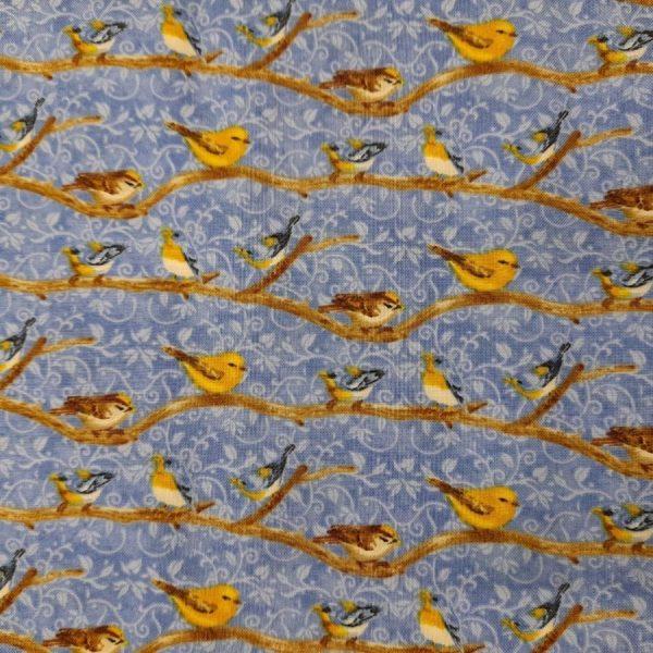 Tessuto in cotone americano - rami - uccellini - Filomania