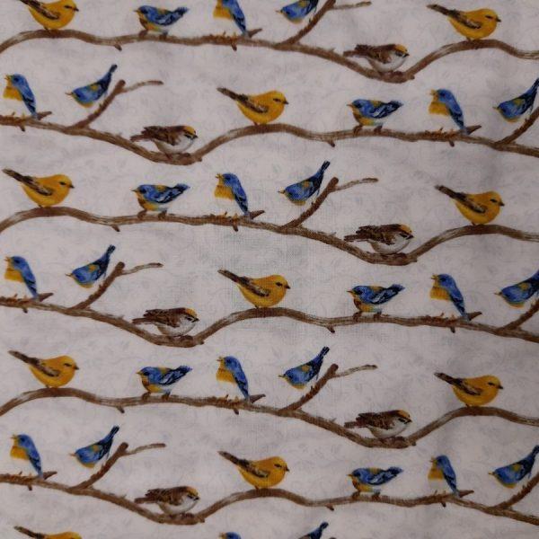 Tessuto in cotone americano - rami - uccellini - beige - Filomania