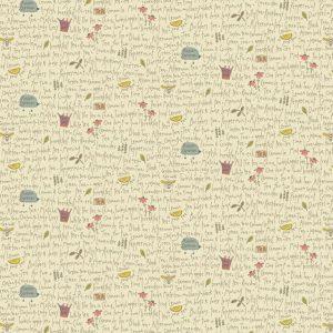 Tessuto in cotone americano - scritte - fiori - Filomania