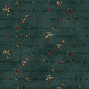 Tessuto in cotone americano - angelo piccolo - verde petrolio - Filomania