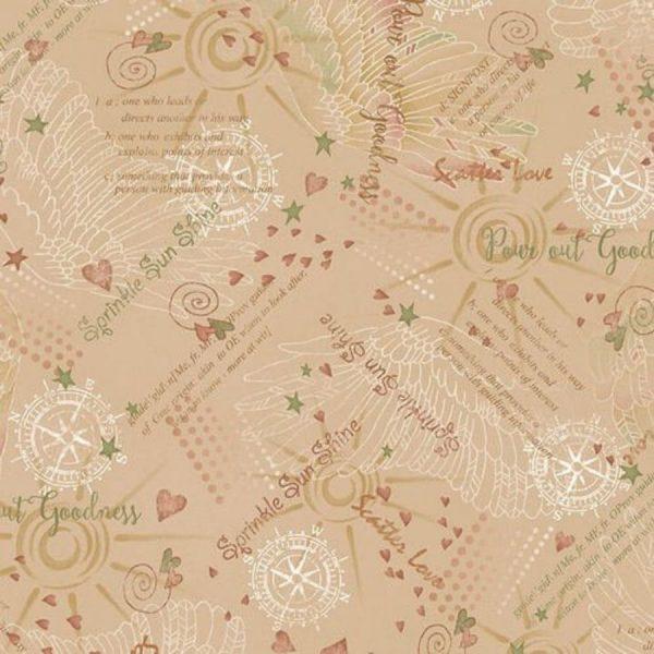 Tessuto in cotone americano - scritte - beige - Filomania