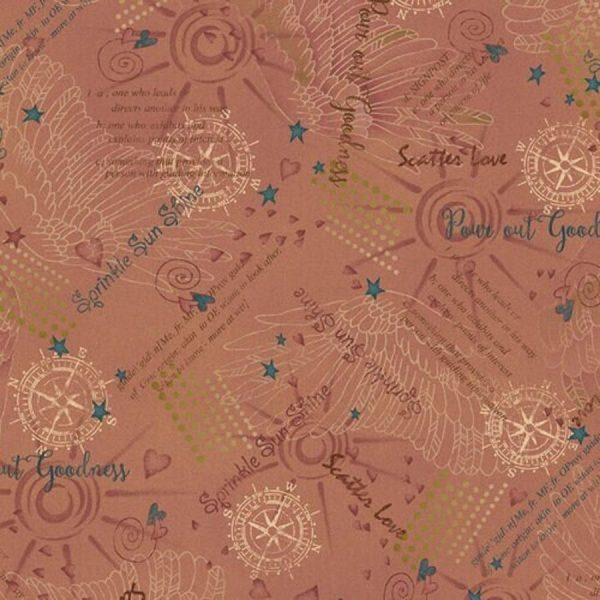 Tessuto in cotone americano - scritte - rosa antico - Filomania