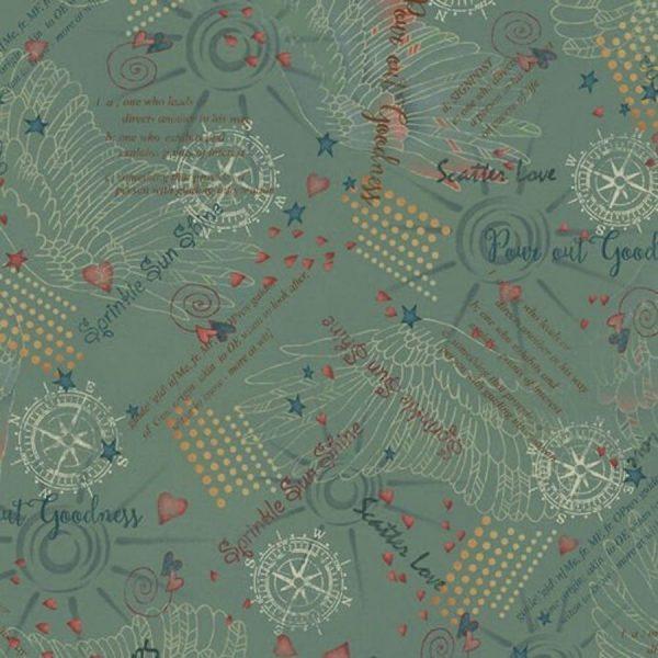Tessuto in cotone americano - scritte - verde - Filomania