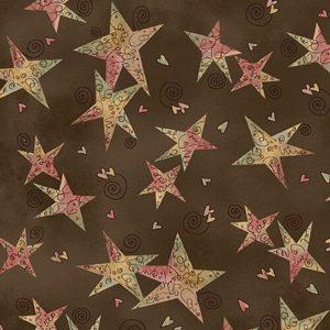 Tessuto in cotone americano - stelle - marrone - Filomania