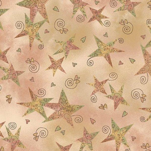 Tessuto in cotone americano - stelle - rosa antico - Filomania