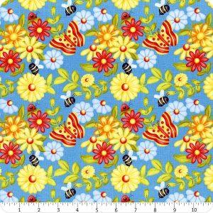 Tessuto in cotone americano - - fiori - farfalle - azzurro - Filomania