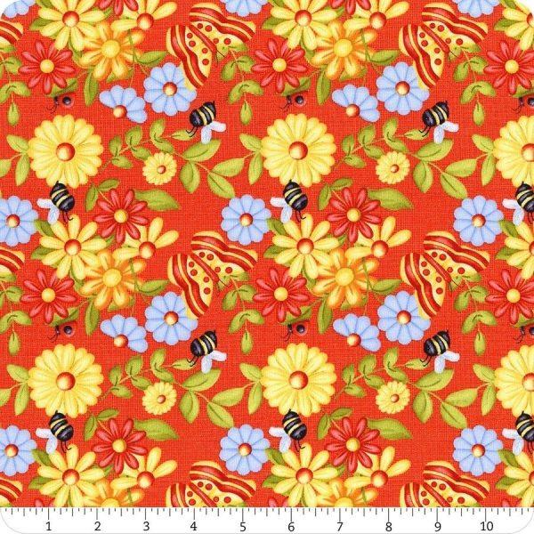 Tessuto in cotone americano - - fiori - farfalle - rosso - Filomania