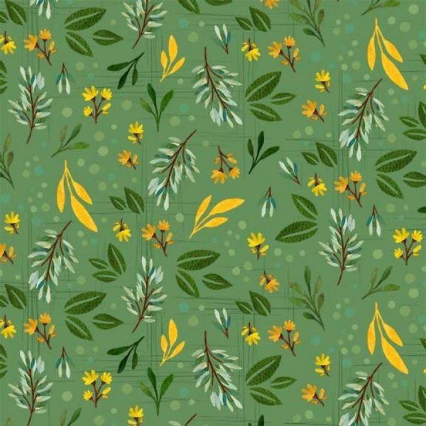 Tessuto in cotone americano - foglie - fiori - Filomania