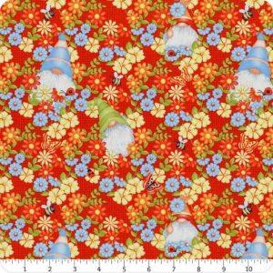 Tessuto in cotone americano - - gnomi - giardino - Filomania