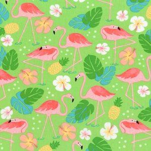 Tessuto in cotone americano - pellicano - fiori - Filomania