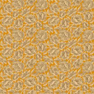 Tessuto cotone - Kim Diehl - floreale - arancio - Filomania