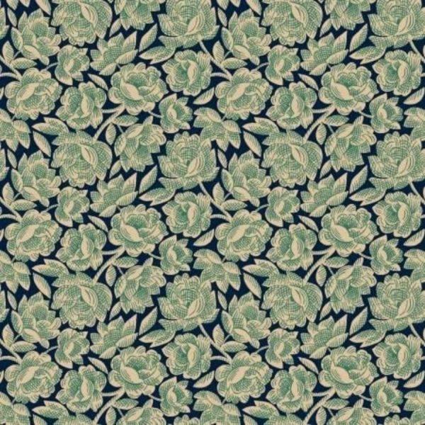 Tessuto cotone - Kim Diehl - floreale - blue - Filomania