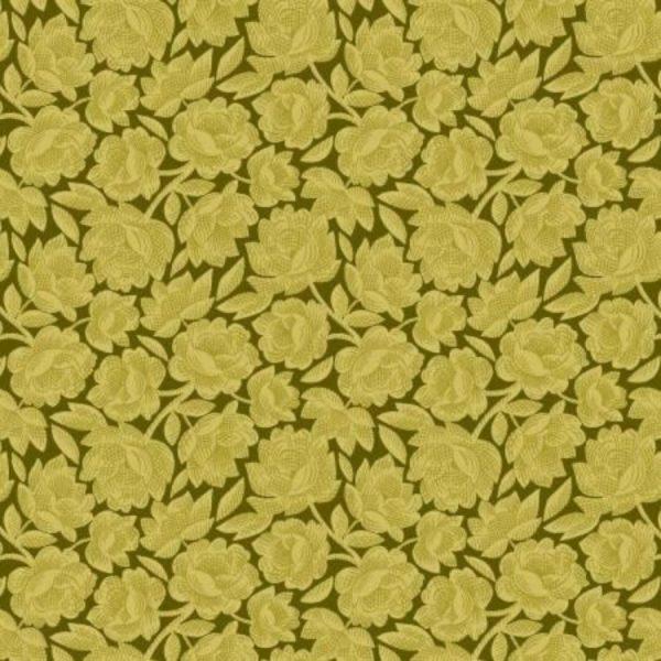Tessuto cotone - Kim Diehl - floreale - verde - Filomania