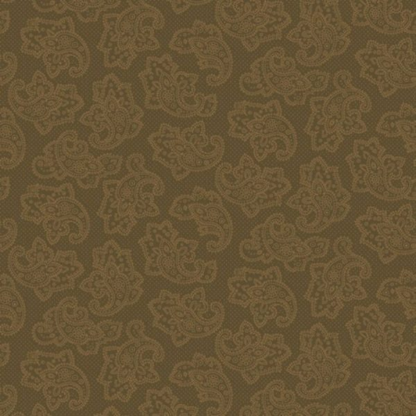 Tessuto cotone - Kim Diehl - punteggiato paisley - marrone - Filomania