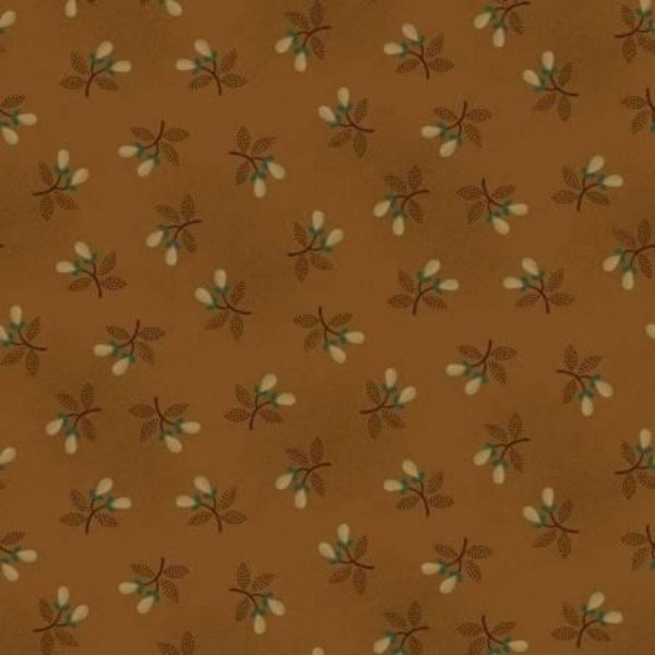 Tessuto cotone - Kim Diehl - rametti primaverili - marrone - Filomania