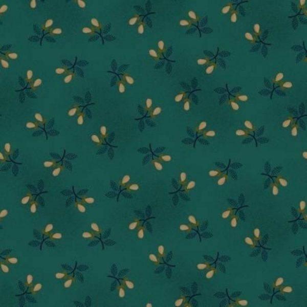 Tessuto cotone - Kim Diehl - rametti primaverili - petrolio - Filomania
