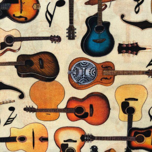 Tessuto in cotone americano - musica - chitarra - Filomania