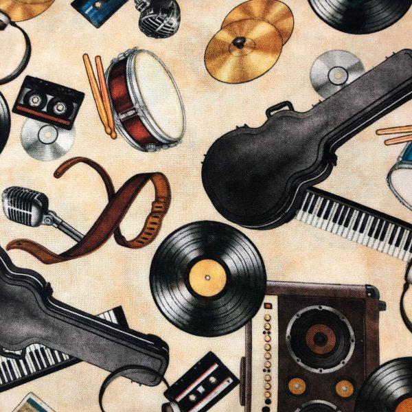 Tessuto in cotone americano - musica - strumenti - Filomania