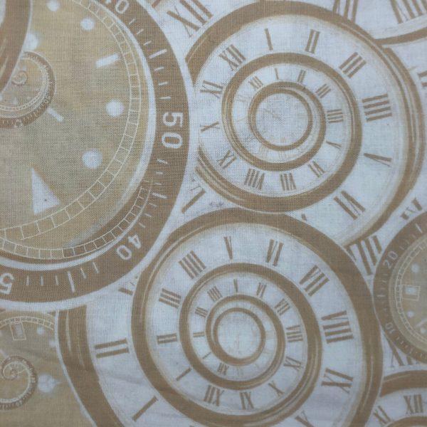 Tessuto in cotone americano - orologi - beige - Filomania