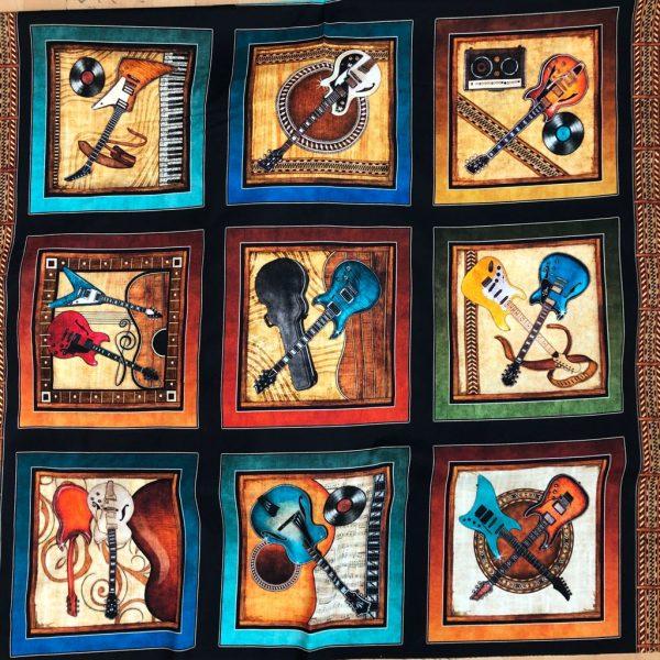 Tessuto in cotone americano - pannello - strumenti - musicali - Filomania