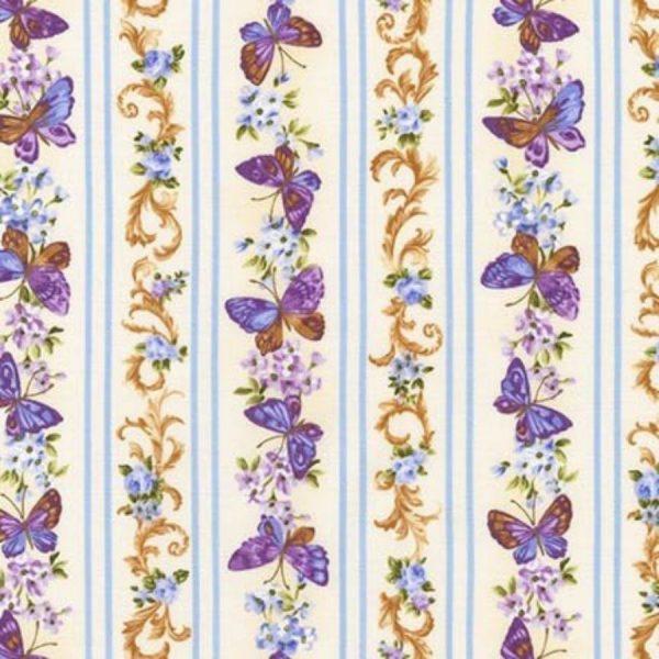 Tessuto in cotone - fiori - farfalle - Filomania