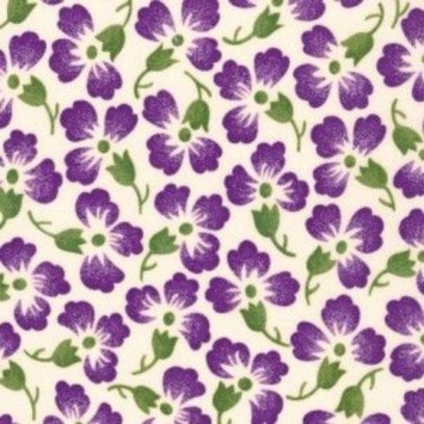 Tessuto in cotone - fiori - violette - Filomania