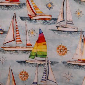 Tessuto Cotone americano - barche a vela - azzurro - Filomania