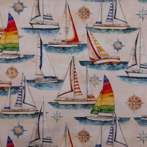 Tessuto Cotone americano - barche a vela - beige - Filomania