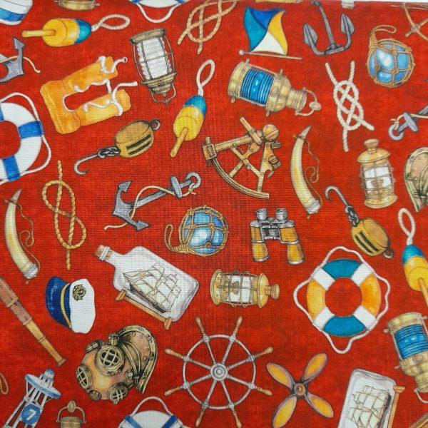 Tessuto Cotone americano - disegni mare - Filomania