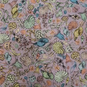 Tessuto Cotone americano - mare - conchiglie - lilla - Filomania