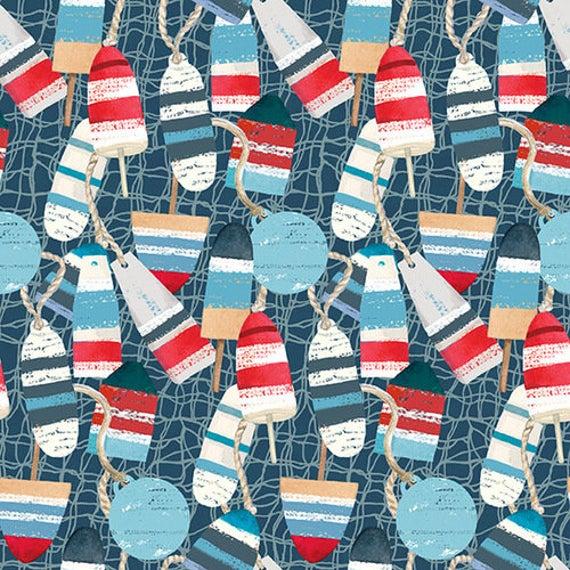Tessuto Cotone americano - mare - galleggianti - blu - Filomania