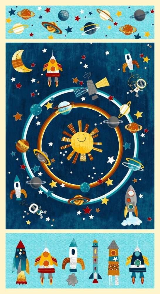 Tessuto Cotone - pannello - spazio - astronauta - Filomania