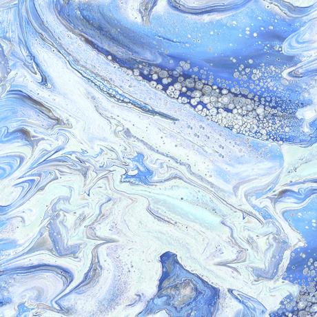 Tessuto cotone americano - effetto onda - azzurro - Filomania