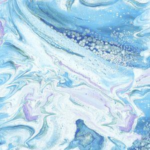 Tessuto cotone americano - effetto onda - turchese - Filomania
