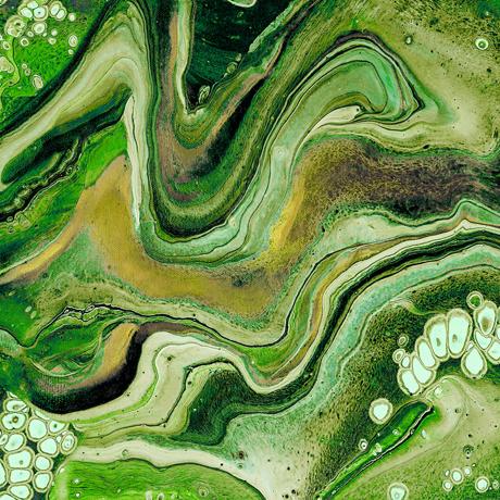 Tessuto cotone americano - marmorizzato - verde - Filomania