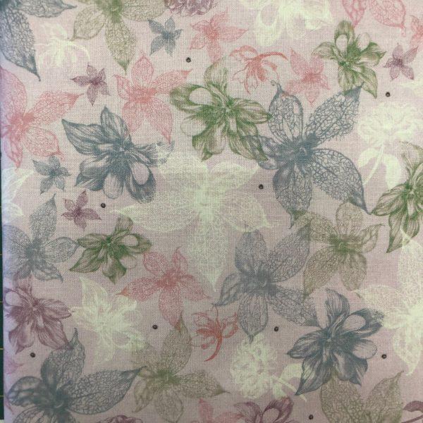 Tessuto in cotone americano - fiori - esotici - lilla - Filomania