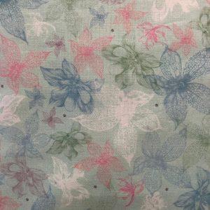 Tessuto in cotone americano - fiori - esotici - verde - Filomania